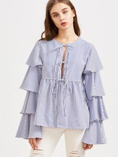 MakeMeChic - MAKEMECHIC Blue Striped Tie Front Layered Ruffle Sleeve Babydoll Blouse - AdoreWe.com