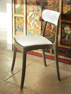 New Retro Taupe/White Stacking Chairs by DomItalia Furniture