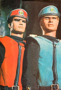 "rrrick: ""afogofideas: "" Captain Scarlet and Captain Blue "" "" Christopher Eccleston, Scarlet, Doctor Who, 1970 Style, Thunderbirds Are Go, Sci Fi Tv, My Childhood Memories, School Memories, Kids Tv"