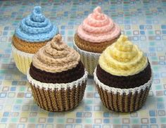 Yummy!   I've done a variety of crochet cupcakes before, but this pattern is one of the best I've seen!   I love the way the icing is swirled on top!