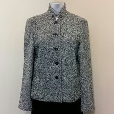 "Petite Sophisticate tweed jacket size 10 Petite Sophisticate tweed jacket size 10, length from shoulder to hem 24"", sleeves length 24"", 2 pockets on the front bottom, never worn Petite Sophisticate Jackets & Coats"