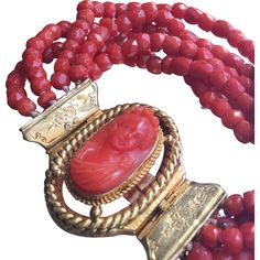Antique French Georgian Red Coral and 18K Gold Bracelet with Carved Woman Cameo Clasp Early 19th C