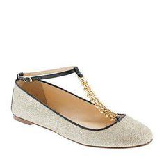 #Glitter T-strap ballet flats