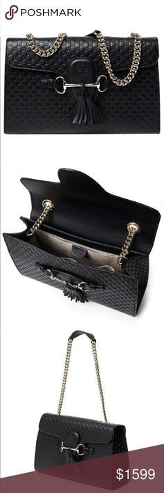 Gucci Emily Guccissima Black Leather  Chain Handle Beautiful bag.  Great condition.  Comes from pet and smoke free home. Gucci Bags Shoulder Bags