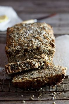 An easy-peasy recipe for the most delicious seed loaf. The ingredients are simply stirred together then baked slowly to result in a dense, dark and delectable loaf best served with butter. #recipe #healthy #lowgi