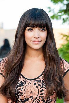 Hannah Simone - brunette hair - blunt fringe / bangs - perfect for any face shape