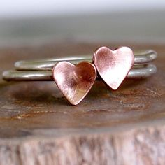 stacked heart rings -- pink hearts