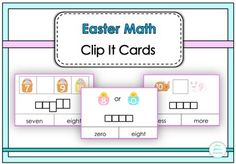 Easter Math Clip It Cards Homework Sheet, Numbers 1 10, What Is Miss, Easter, Math Lessons, Cards, Teaching, Spring, Products