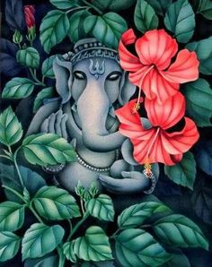 Make this Ganesha Chathurthi 2020 special with rituals and ceremonies. Lord Ganesha is a powerful god that removes Hurdles, grants Wealth, Knowledge & Wisdom. Ganesha Drawing, Lord Ganesha Paintings, Spiritual Paintings, Ganesha Art, Shri Ganesh, Pichwai Paintings, Indian Art Paintings, Colorful Drawings, Art Drawings