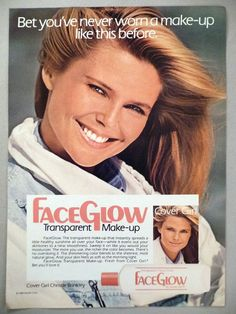 Very light wear, no other defects. 1980s Makeup, Vintage Makeup Ads, Covergirl Makeup, Dark Eyeshadow, Evening Makeup, Christie Brinkley, Spring Makeup, Face Facial, Fake Lashes