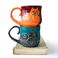 Kitty Cat Mug - Choose Your Color - Hand Thrown Ceramic Coffee Tea Cup - Tabby Cat - Dark Rustic Red Crimson