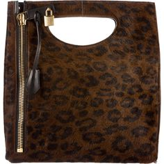 Pre-owned Tom Ford Ponyhair Alix Fold-Over Satchel ($1,995) ❤ liked on Polyvore featuring bags, handbags, animal print, satchel purses, brown satchel purse, leopard purse, tom ford handbags and brown satchel