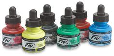 Daler-Rowney Acrylic Inks - These inks are vibrant, water resistant, lightfast and mixable. The colors are so rich you can water them down! The top has a dropper to make it easy to use. Write with them, drip them, splatter them or paint with them. I like to dip my brush in them and use it like a liquid water color.