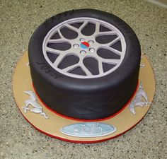 Ford Mustang Tire - Fondant covered cake with fondant decor. Mustang Cake, Ford Mustang, Boys First Birthday Party Ideas, 40th Birthday Parties, Fondant Cakes, Cupcake Cakes, Car Cakes, Cake Cover, Cakes For Boys