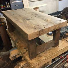 Reclaimed red oak coffee table - Free isn't always bad. Loft Furniture, Timber Furniture, Reclaimed Wood Furniture, Solid Wood Furniture, Rustic Furniture, Oak Coffee Table, Rustic Coffee Tables, Rustic Table, Wooden Pallet Projects