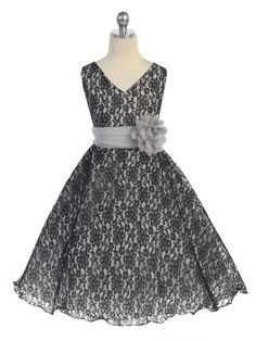 Black Surplice Top All Lace Flower Girl dresses with Flower Corsage on Waist (sizes 2-20)