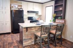 Built In Pantry, Open Plan Kitchen, Exposed Brick, Open Concept, Separates, Counter, Two By Two, Sink, New Homes
