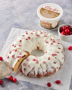 This festive coffee cake is made with love using our Gold Premium Sour Cream - making it the perfect companion to your morning cup of joe. ☕️✨ Coffee Cake, How To Make Cake, Sour Cream, Doughnut, Festive, Favorite Recipes, Cakes, Desserts, Gold