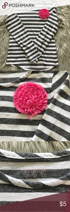 """Striped long sleeve shirt Striped long sleeve shirt with pink """"flower"""". Size S (7/8) Shirts & Tops"""