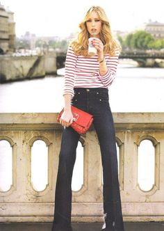 stripes with flare jeans