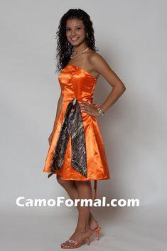 "Jr. Bridesmaids Dresses:  7700 in Hunter's Orange Shiny Satin and optional ""Add to Anything"" Sash  @Amber Shope"