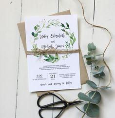 greenery wedding invitation, modern wedding invitation, rustic wedding invitation
