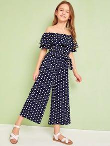 Apr 2020 - Girls Off Shoulder Foldover Wide Leg Polka Dot Jumpsuit – Kidenhouse Dresses Kids Girl, Cute Girl Outfits, Kids Outfits, Casual Outfits, Girls Fashion Clothes, Tween Fashion, Girl Fashion, Fashion Outfits, Gothic Fashion