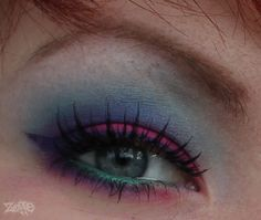 Sugarpill Dollipop eyeshadow Sugarpill Afterparty eyeshadow Sugarpill Tako eyeshadow MAC Non-Conformist fluidline(DC) MAC #7 lashes GOSH white kohl pencil Sugarpill Midori eyeshadow (on waterline on top of the white pencil)