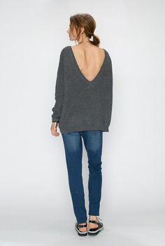 Front   Deep V Line Back Detailed Pullover Sweater 70148 e8ce5c84701e