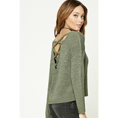 Forever21 Crisscross-Back Sweater Top (410 MXN) ❤ liked on Polyvore featuring tops, sweaters, olive, forever 21 tops, cross back top, cross back sweater, long sleeve sweater and forever 21 sweaters