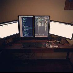 Awesome coding setup! shared by @tr_bond Finally got my new desk!! #webdeveloper #gaming #productive #productivity #programming #setup #dev #code #pc #pcmr #pcmasterrace #coding #developer #javascript #programmer #mechanicalkeyboard #tech #technology #gamingsetup #pcgaming #gamingpc #workspace #inspiration #office