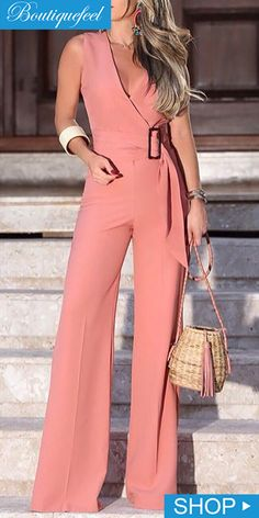 Elegant V-Neck Solid Color Wide Leg Jumpsuits Women 2019 Summer Sleeveless Office Rompers Office Lady Belted Wear Playsuits Trend Fashion, Fashion Outfits, Parisian Fashion, Bohemian Fashion, Cheap Fashion, Fashion Fashion, Retro Fashion, Fashion Women, Jumpsuit Outfit