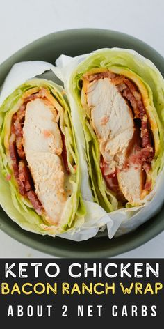 Loaded with protein and containing about 2 net carbs per serving, this Chicken Bacon Ranch Lettuce Wrap is the ideal low carb, keto-friendly lunch option. #keto #lowcarb #mealprep Pork Recipes For Dinner, Italian Dinner Recipes, Wrap Recipes, Lunch Recipes, Chicken Recipes, Yummy Recipes, Delicious Meals, Keto Chicken, Skinny Recipes