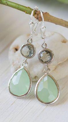 Mint Teardrop and Charcoal Jewel Drop Earrings in Silver