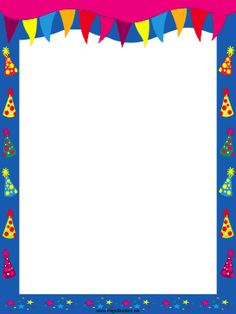 This free, printable birthday border includes colorful pennants and polka-dot hats with tassels. Free to download and print.