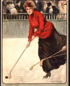 A 1905 Hockey Ice Skating Sporting Woman Women's Hockey, Hockey Girls, Sports Art, Sports Women, Hockey Posters, Vintage Winter, Vintage Christmas, Christmas Cards, Nhl News