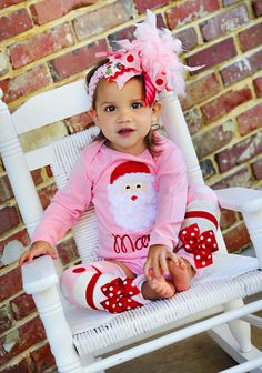 Christmas Outfit  -- Santa's Sweetheart -- bow, leg warmers, and personalized onesie -- pink and red