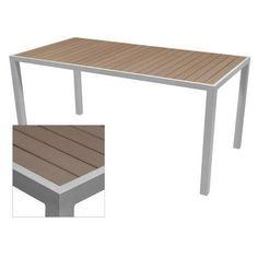 """Source Contract Nevada Dining Table Table Size: 37.5"""" L x 73"""" W, Top Finish: Gray, Base Finish: Silver"""