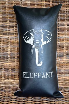 Black and grey Elephant embroidered Pillow  by StylishLiving1, $38.00