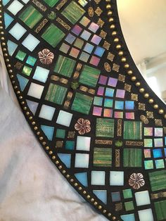 Large Round Mosaic Mirror/SOLD