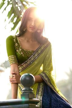 Green-Blue Georgette Designer Saree with Blouse