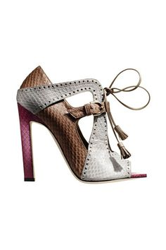 Brian Atwood Brown & White Snakeskin Sandal Fall 2014 #Shoes äHeels
