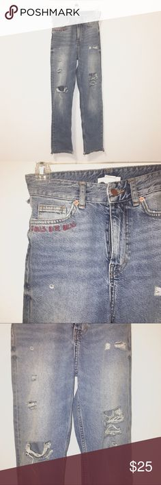 """NWOT H&M Distressed Cut Off Embroidered Denim """"Girls Bite Back"""" H&M embroidered demon jean pants. Distressed style with cut off uneven hem. Riot grrrl feminist style jeans. Never worn. H&M Jeans"""