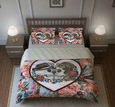 """Skull Bedding, Sugar Skulls, Duvet Cover Set, """"Forever More ll """" Blue Coral Floral Birds, Day of The Dead"""