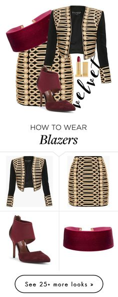 """""""red and gold"""" by kitchqueen on Polyvore featuring Balmain, Donald J Pliner, Lipstick Queen and velvet"""