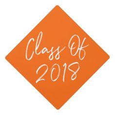 Modern Class of 2018 | Orange Graduation Cap Topper - graduation gifts giftideas idea party celebration