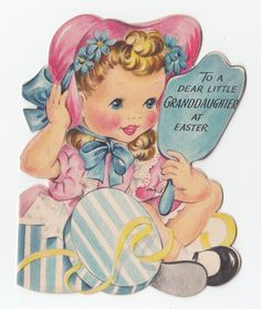 Vintage Greeting Card Easter Hat Box Cute Girl Mirror Die Cut Hallmark 1940s | eBay
