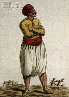 JACQUES GRASSET DE ST.SAUVEUR (1757-1810) (painter) & J. LAROQUE (engraver] Man from Crete in local attire 1784, coloured etching, 21 x 14.5 cm