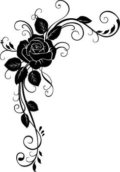 Peel and Stick - Rose Stencil Rosa, Rose Stencil, Page Borders Design, Border Design, Borders For Paper, Borders And Frames, Hand Embroidery Designs, Embroidery Patterns, Rose Tattoos