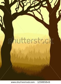 Vector illustration of tree trunks (as frame) with grass and coniferous forest in yellow tone. - stock vector